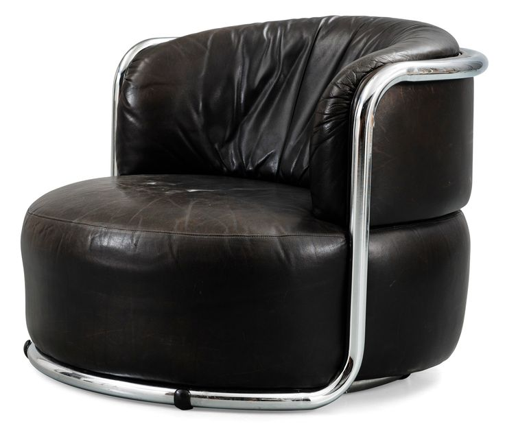 A Geoffrey Harcourt chromed steel and black leather easy chair, Artifort, Holland 1970's.