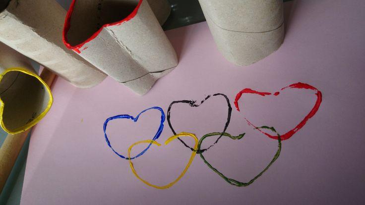 DIY Knutselen Olympische Spelen - Olympic Games - Love - hartjes - liefde - de ringen - roze - paint - pink