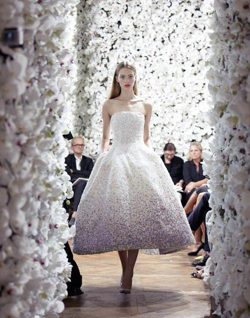 DIOR Couture Autumn-Winter | via DIOR. Gorgeous vintage inspired tea length wedding dress