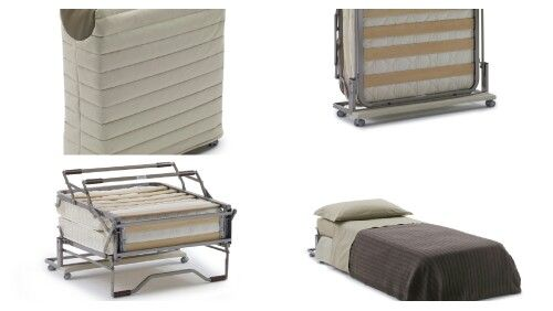 Paul high comfort emergency bed, can be hidden under a quilted cover, made in fabric or like-leather to your choice. By Milano Bedding www.milanobedding.it. Design Alessandro Elli