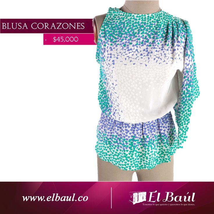 Blusa corazones  $45,000  http://elbaul.co/Productos/1640/Blusa-corazones-blanca/verde/morada-