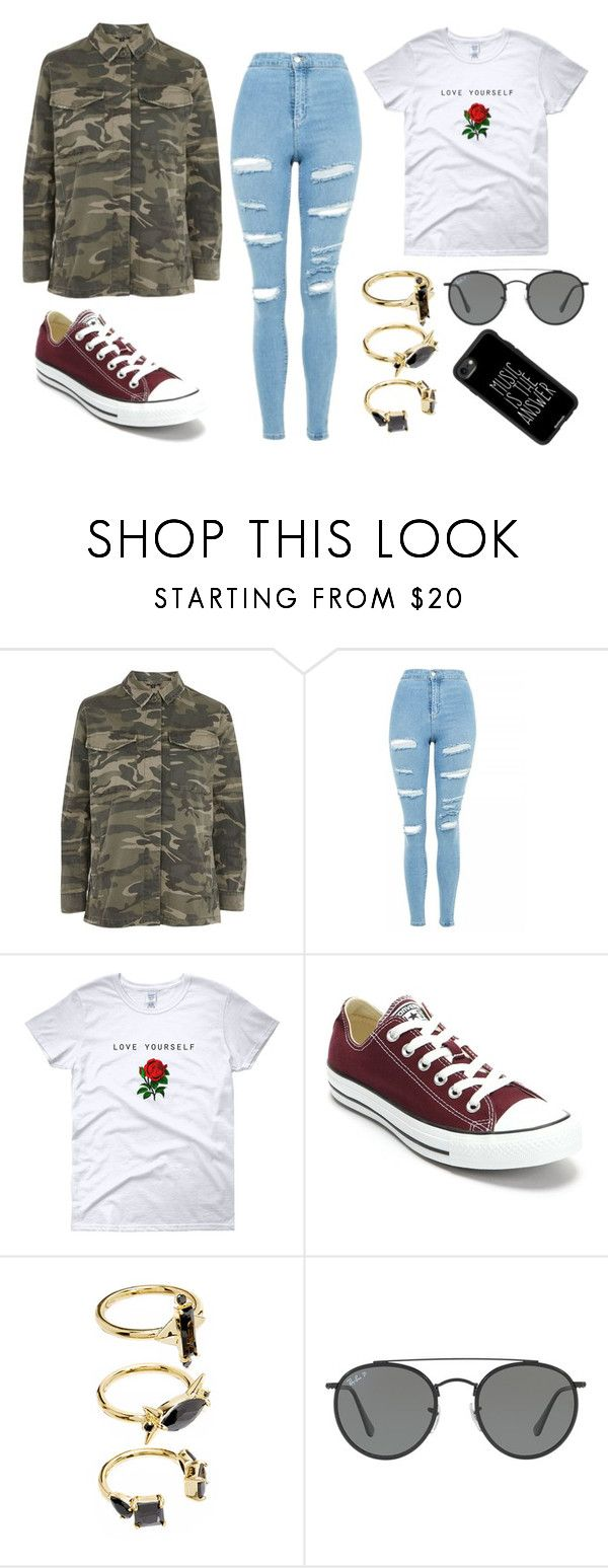 """""""Untitled #86"""" by impulsepotato on Polyvore featuring Topshop, Converse, Noir Jewelry, Ray-Ban and Casetify"""