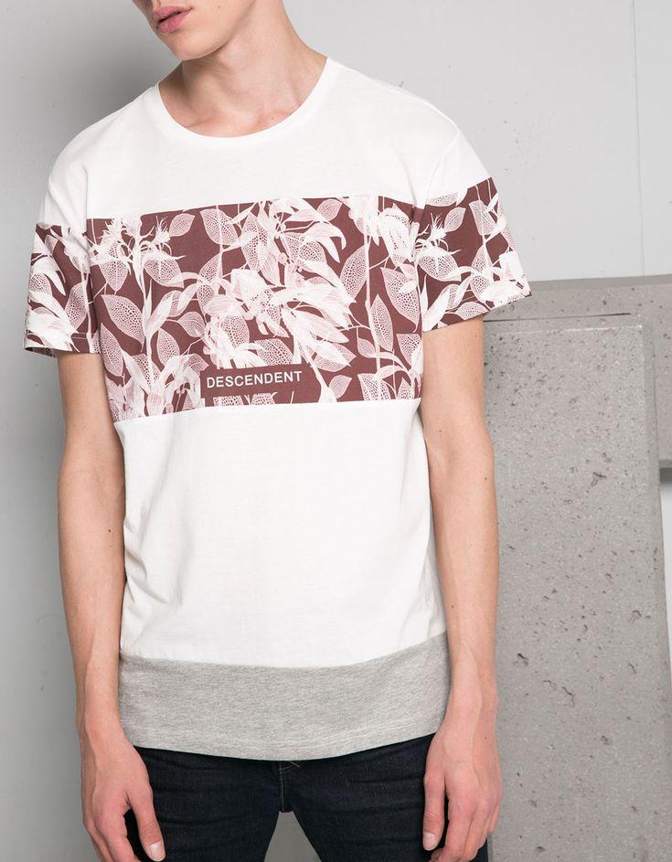 T-shirt estampado combinado - T-shirts - Bershka Portugal