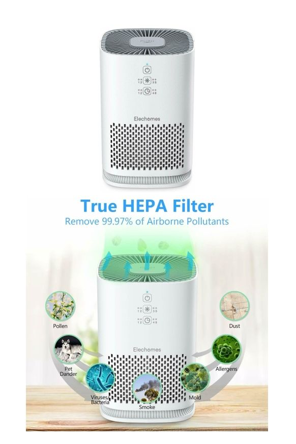 Ultra Quiet Compact Elechomes Air Purifier In 2020 Air Purifier Allergies Air Purifier Benefits Air Purifier