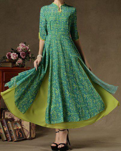 Bohemian Mandarin Collar Printed 1/2 Sleeve Chiffon Dress For Women