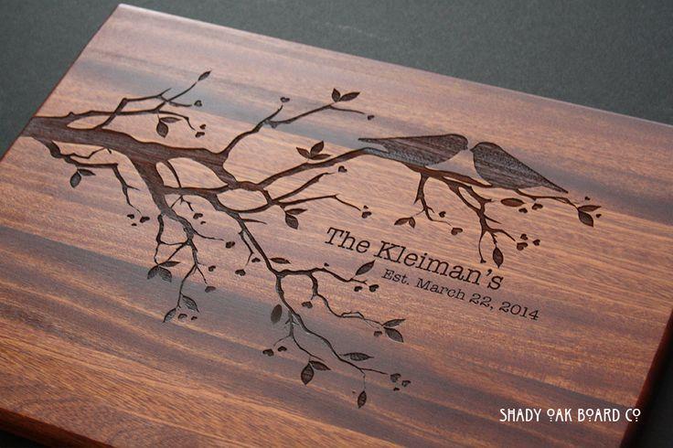 Love Birds on Tree Branch Personalized Wood Cutting Board from Shady Oak Board Co