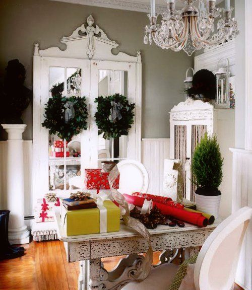 .: The Doors, Shabby Chic Christmas, Crafts Rooms, French Doors, White Rooms, Gifts Wraps, Happy Holidays, Wraps Gifts, Wraps Stations