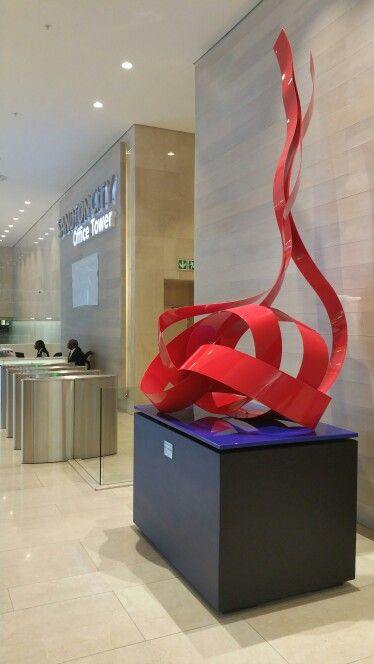 My 4.5 meter high sculpture in the Sandton office towers entitled Abstract in red and blue.