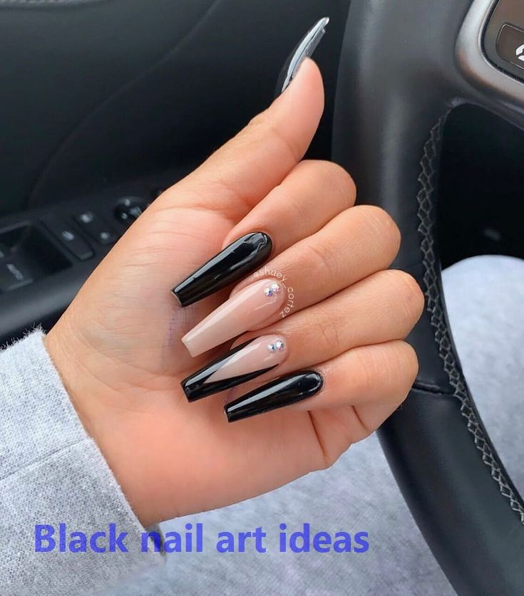 20 Simple Black Nail Art Design Ideas Nailart Blacknaildesign In 2020 Long Acrylic Nails Coffin Black Acrylic Nails Long Acrylic Nails