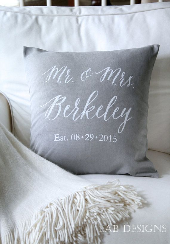Personalized Wedding Pillow Cover Mr. and Mrs. by eabdesigns