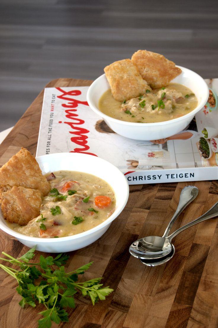 Chrissy Teigen's chicken pot pie soup with crust crackers from Cravings cookbook.  -  veggies, garlic, butter, potatoes, ham, etc.  balanced, freezes, fairly frugal, want!   lj