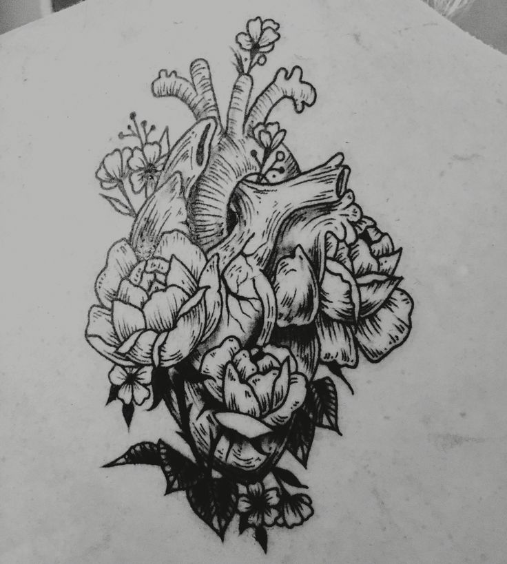 Anatomical heart line art detail tattoo with floral flowers grow in and around in black and white.