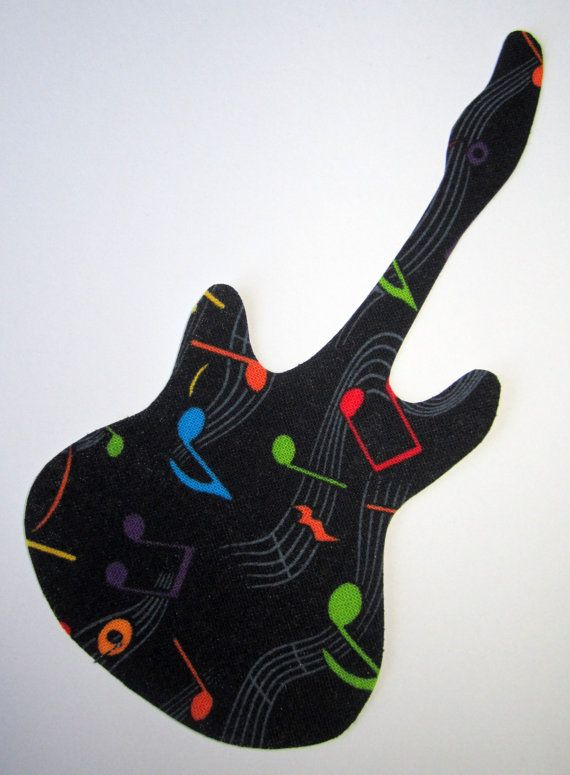 Iron-On Guitar - Multicolor Music Notes