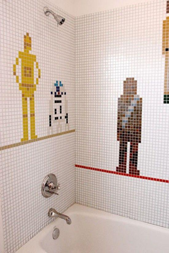 Shower with C3PO, R2, and Chewie.: Boys Bathroom, Kids Bathroom, Star Wars, Stars War Bathroom, Shower Tile, House, War Shower, Starswar, Starwars