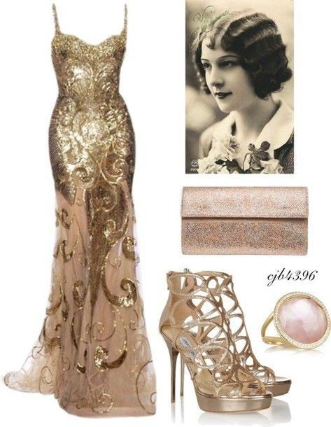 dress 20s dresses gold dress gold gown evening dress shoes gatsby theme