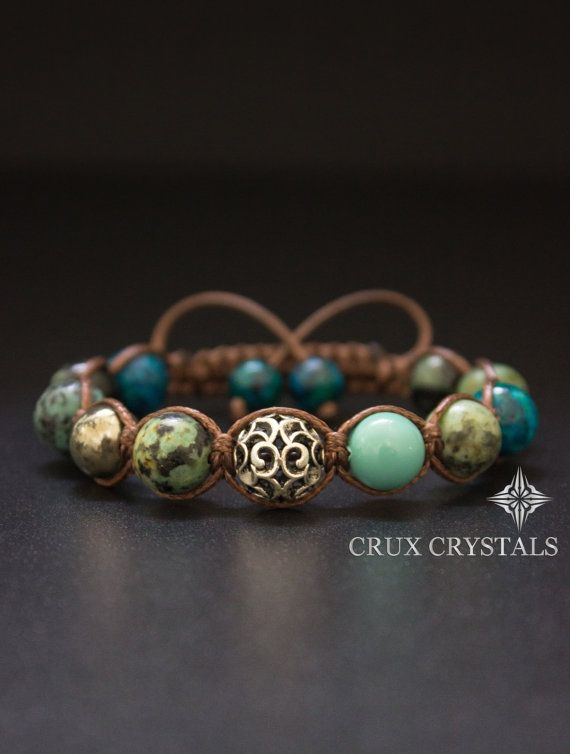 African Turquoise Brown Macrame Bracelet Gemstone by CruxCrystals
