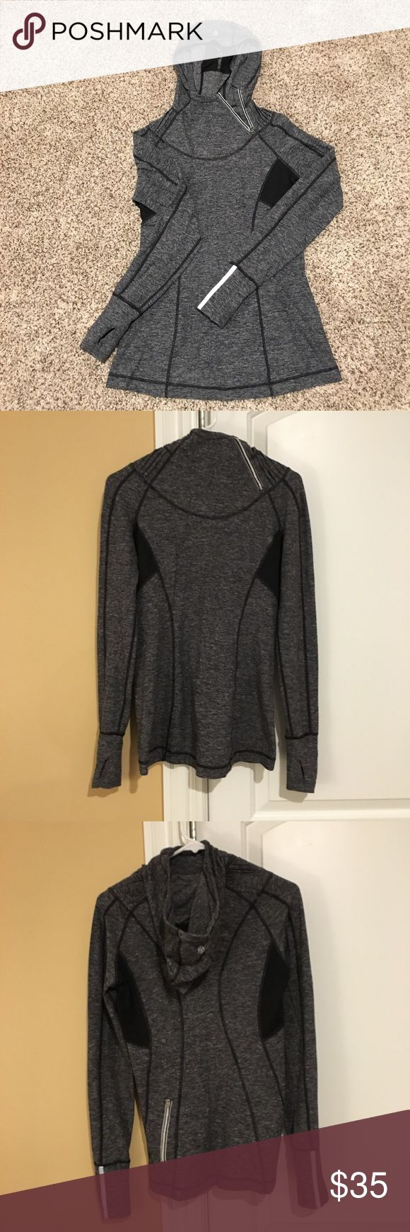 Lululemon Zip Hoodie Long Sleeve Top Re-Posh - great Lululemon zip hooded top on a marled gray pattern. Vented & reflective details, thumb holes, ponytail hole in hood. Great top! Just didn't like how it fit me.   No modeling.   Please submit offers via offer button. lululemon athletica Tops