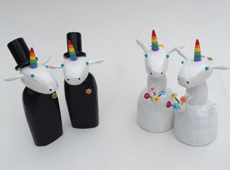 Wedding Gifts For Lesbian Couples: Unicorn Gay And Lesbian Wedding Cake Toppers By Bunny With