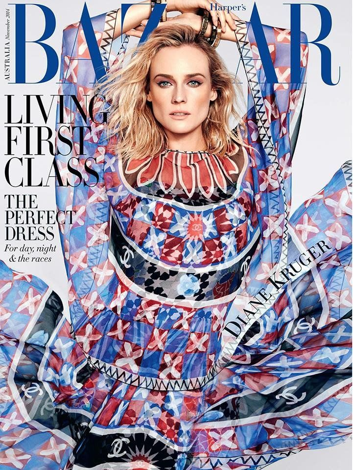 Diane Kruger Wows in Chanel for Harpers Bazaar Australia November 2014 Cover