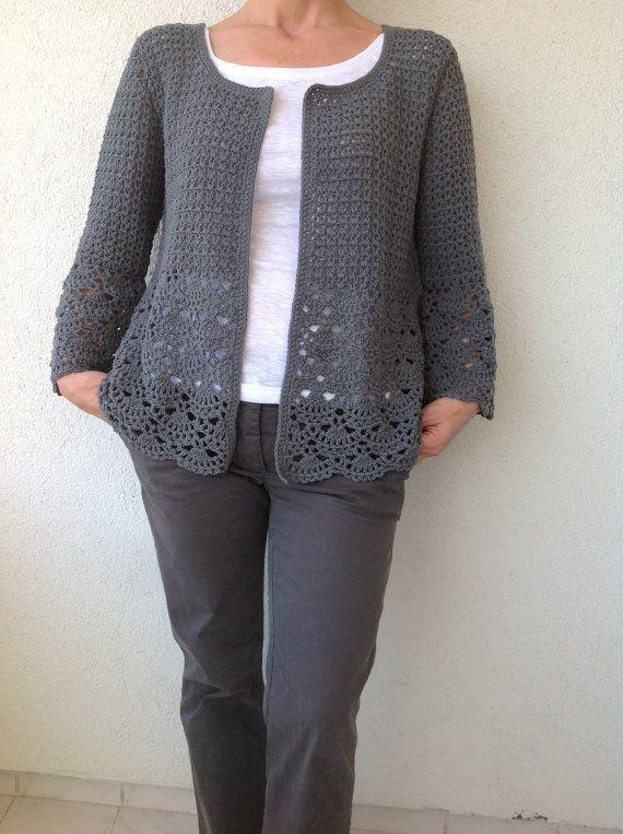 Femmes au Crochet Cardigan/gris Crochet pillée au Crochet/coton Cardigan/gris coton Crochet Cardigan femmes