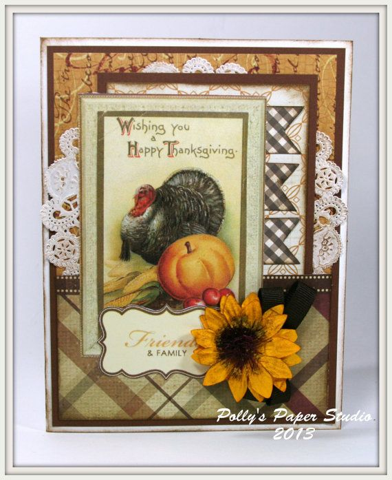 Traditional Thanksgiving Greeting Card Handmade by PollysPaper, $6.50