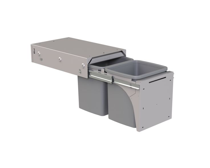 Hideaway Soft Close model: SC215D-G 2 x 15 litre buckets in Ghost Grey. Ideal as a rubbish or recycling separation system in the kitchen. Fits a standard supermarket shopping bag. Features a friction-fitted lid with a Clinikill™ antibacterial powder coating.