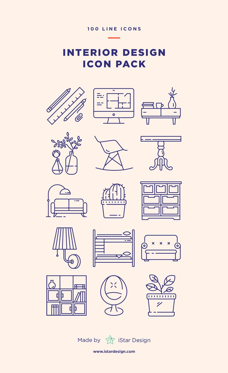 Interior Design Icons Set made by iStar Design. Series of 100 pixel-perfect icons, created by influence of interior design, construction & repair. Live stroke & outlined stroke icons available to suit your design from 1 pt upwards. Carefully handcrafted icons usable for digital design or any possible creative field. Suitable for print, web, symbols, apps, infographics.