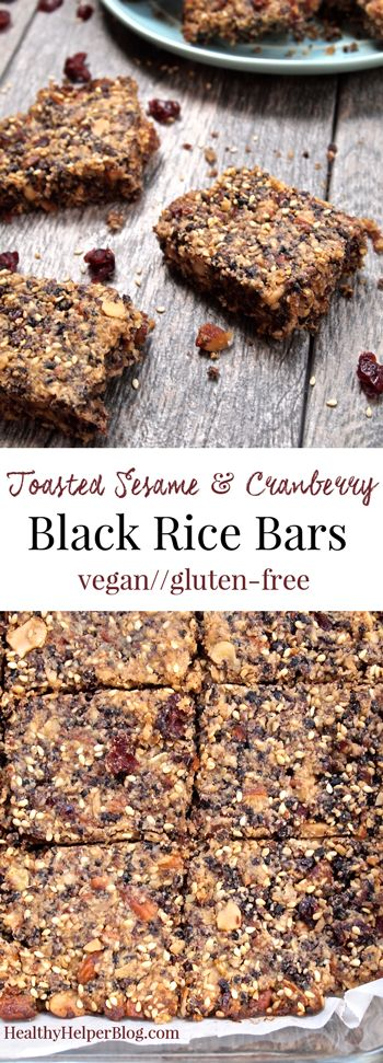 Toasted Sesame & Cranberry Black Rice Bars from Healthy Helper Blog...a sweet n' salty snack sensation! [vegan, gluten-free, whole grain, superfoods, nuts, fruit, low-sugar, healthy, healthy recipe, healthy snacks, healthy eating, healthy food, recipe, bars, rice]