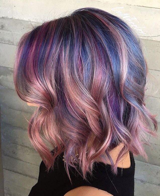 Pastel pink, purple and blue hair By @_lowheelhouse