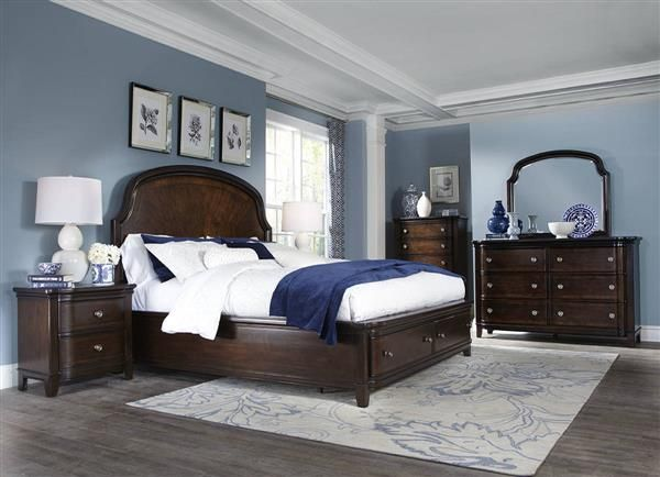 Langham Place Traditional Warm Chestnut Walnut Wood Master Bedroom Set Traditional Bedroom