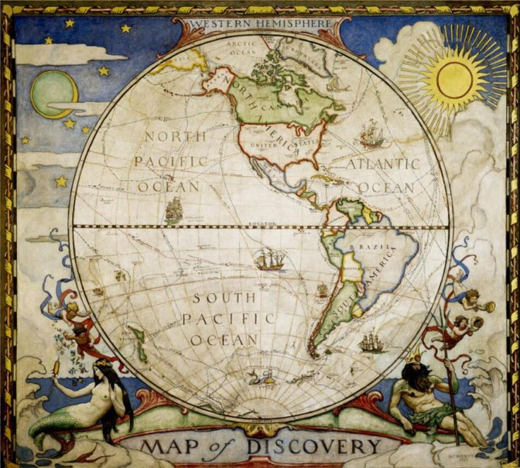 Map of Discovery B Eastern Hemisphere Antique