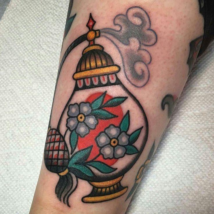 Perfume tattoo by @beexgood at Allied Tattoo in Brooklyn NY #beexgood #britneygoodman #alliedtattoo #newyork #brooklyn #perfume #perfumetattoo #traditionaltattoo #tattoo #tattoos #tattoosnob