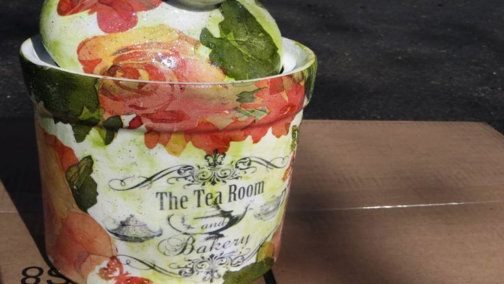 Upcycle an old porcelain or ceramic jar to a Pretty Tea container. Decoupage, glitter, chalk paint and a transfer will all be used! Link to my website is rig...