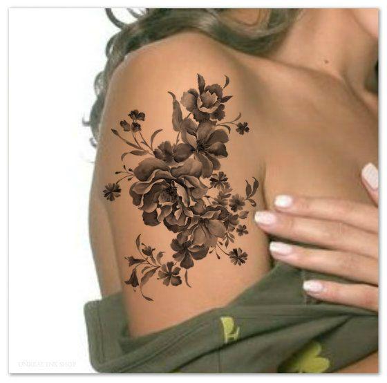 Temporary tattoo shoulder flower ultra thin realistic for Realistic temporary tattoos