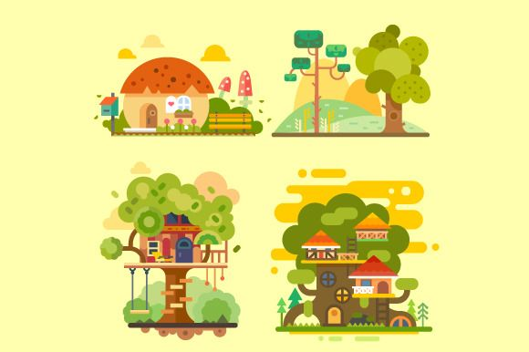 Houses On The Tree by TastyVector on @creativemarket