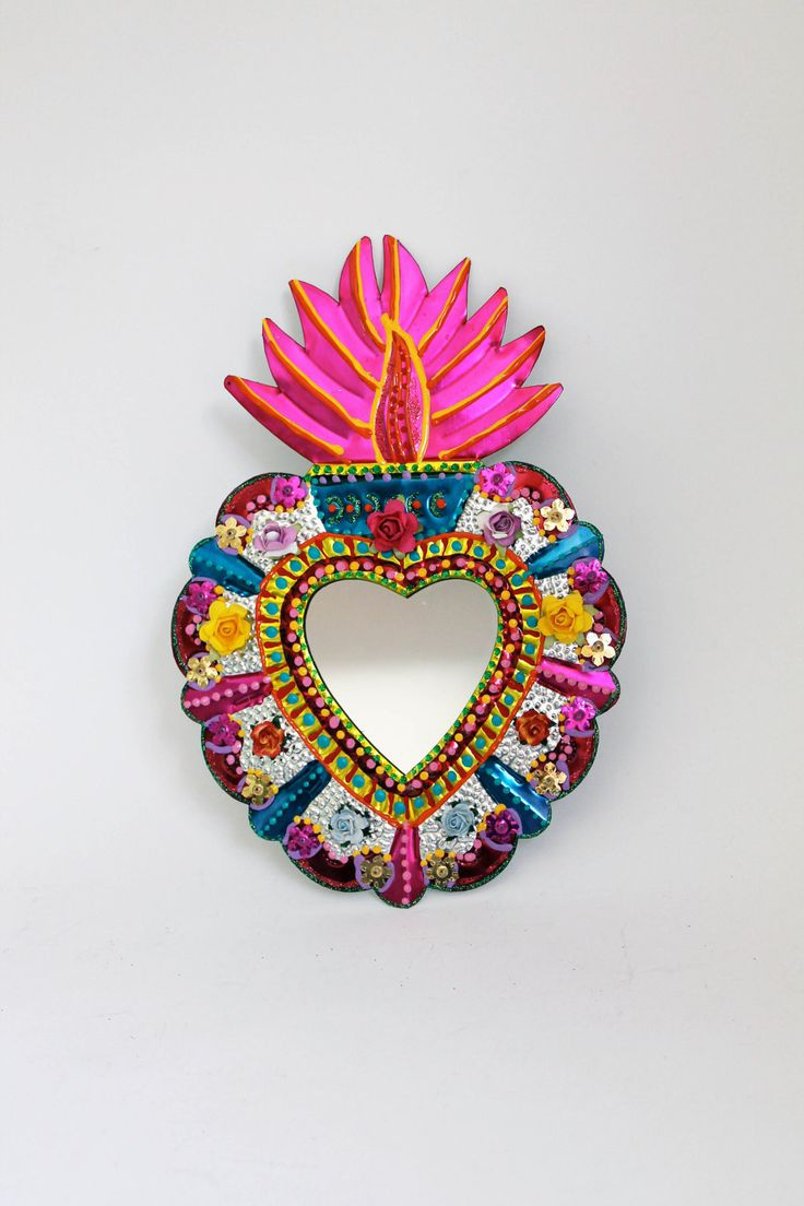 Sacred Heart tin metal mirror