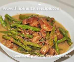 Filipino Style Recipe: ginataang sitaw or sauteed string beans in coconut milk is healthy yet affordable dish. Normally the string beans(sitaw) cooked with pork in a blend of coconut milk and shrimp paste.