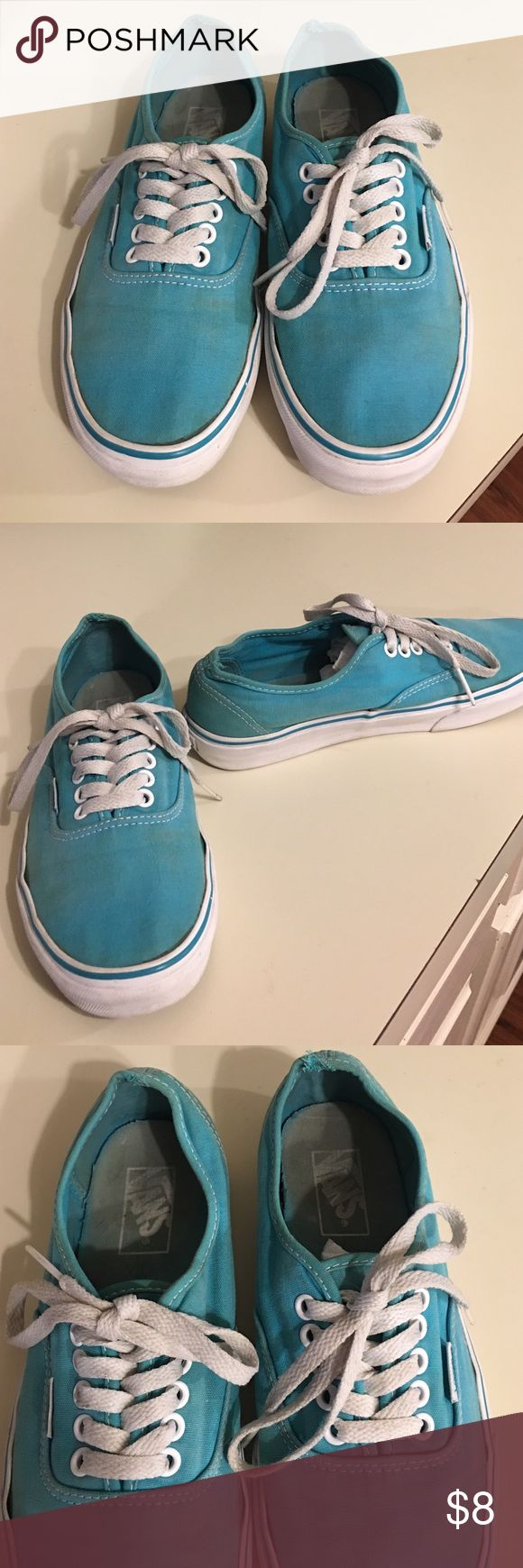Teal Vans Sneakers 8 Teal Vans. Women's size 8 Men's size 6 1/2. Pre-owned so they do show wear. Color is pictures looks more blue but they are more greenish blue. Vans Shoes Sneakers