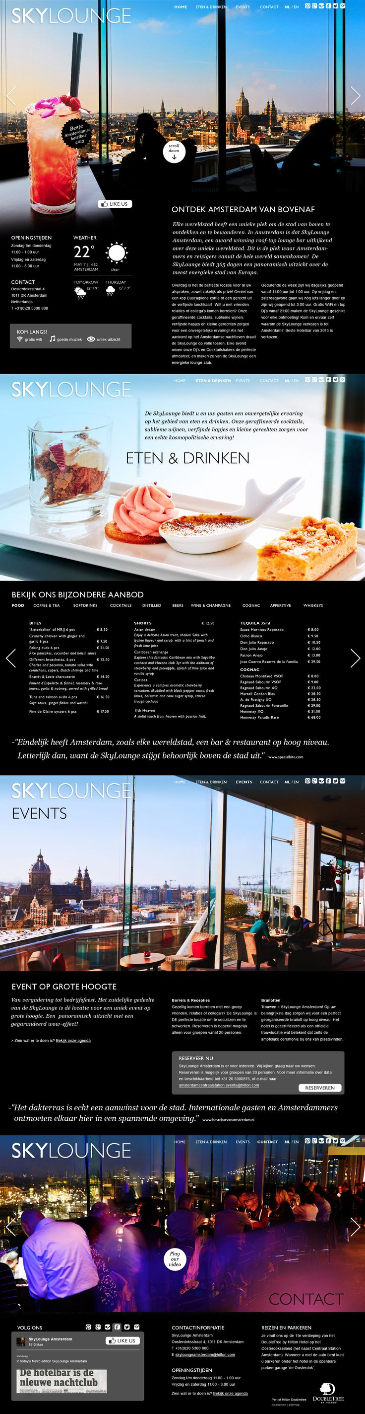 One-page website voor Hilton Skylounge