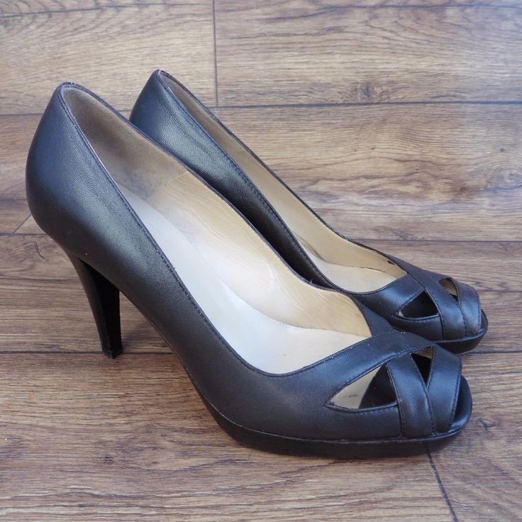 SIZE UK 4 HOBBS BROWN LEATHER HIGH HEEL PEEP TOE COURT SHOES SMART WORK SHOES | eBay