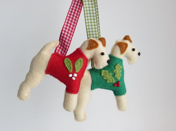 Hand sewn Wire Fox Terrier felt dog christmas by MisHelenEous