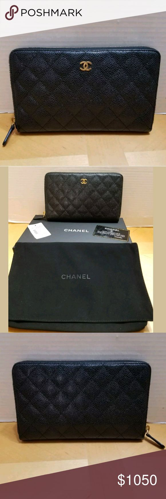"AUTHENTIC CHANEL CC MATELASSE ZIP AROUND WALLET AUTHENTIC  BRAND NEW WITH TAGS  CHANEL CC MATELASSE ZIP AROUND WALLET  BLACK CAVIAR LEATHER  A48982 Y01864  8"" L x 4.5"" W x 3/4"" D  Inside zip pocket  4 slip pockets  16 credit card slots  Comes with Chanel dustbag and box  Retail price: $1200.00 CHANEL Bags Wallets"