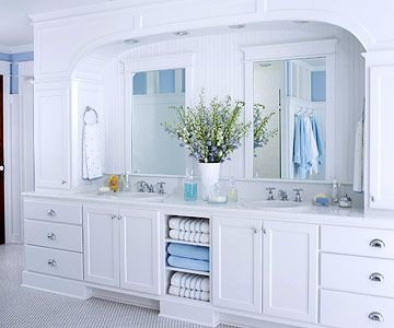 Large cottage vanityBuilt In Vanities, Beach House Bathroom, Bathroom Vanities, Future Bathroom, Bathroom Ideas, Vanities Master, White Bathroom, Center Storage, Master Bathroom