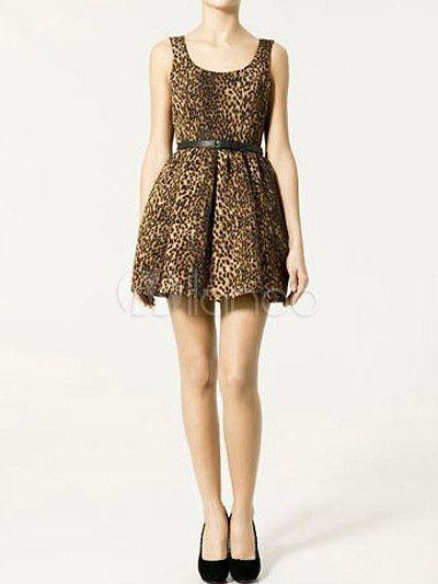 Brown Polyester Leopard Print Sash Scoop Neck Sleeveless Skater Dress
