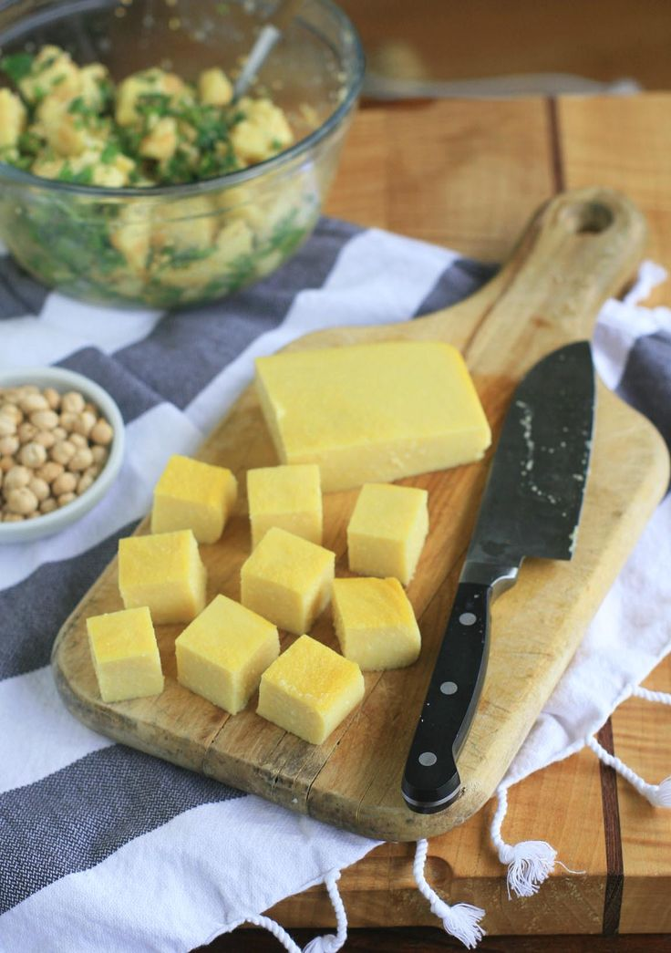 burmese chickpea tofu. i'm super jazzed about this. it's basically chickpea polenta, cubed. but i always end up with a bag of garbanzo bean flour sitting in my cupboard forever after i make some special recipe. now i can use it!!!