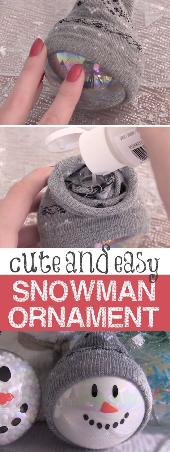DIY Snowman Ornaments -- Easy Christmas gift idea! -- Easy DIY cheap gift ideas for Christmas, birthdays, boyfriends, girlfriends, family, friends and more! These simple, last minute crafts and projects make for special gifts anyone can do! Creative ideas to sell too! Listotic.com