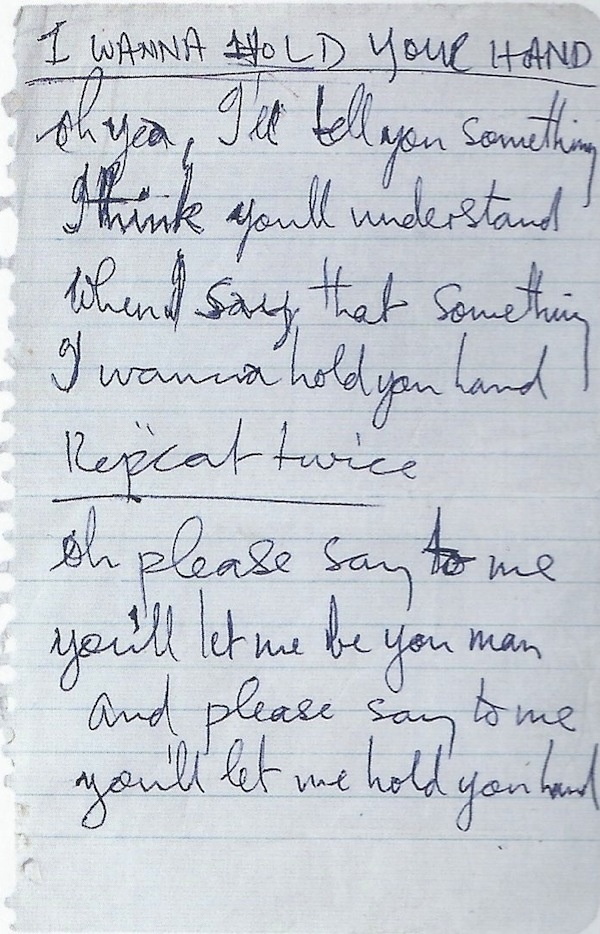 """Handwritten lyrics to """"I Wanna Hold Your Hand"""" by the Beatles"""