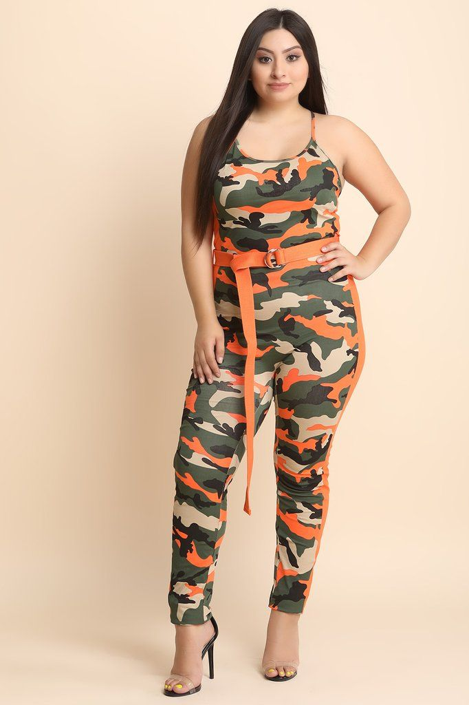 fde0934ae0 Camouflage Side Stripe Belted Jumpsuit