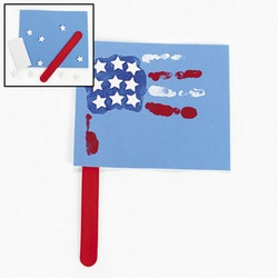 handprint~ Fourth of July~flag~red, white & blue