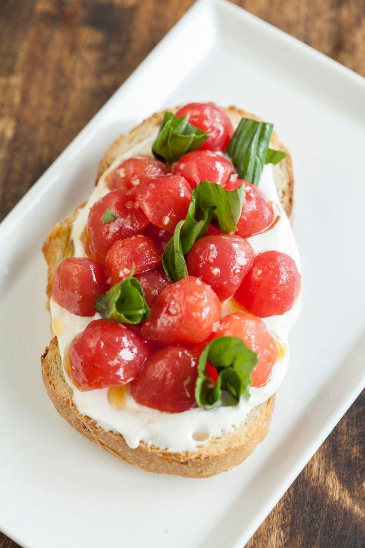 Marinated Tomatoes On Toast With Smoked Mozzarella Cream